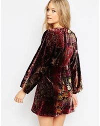 ASOS | Multicolor Devore Velvet Kaftan Mini Skater Dress | Lyst