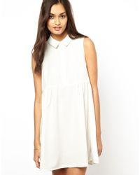 Glamorous - White Swing Shirt Dress with Empire Seam - Lyst
