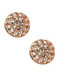 Givenchy | Metallic Rose Gold Plated Crystal Button Stud Earrings | Lyst