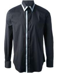 Emporio Armani | Black White Trim Shirt for Men | Lyst