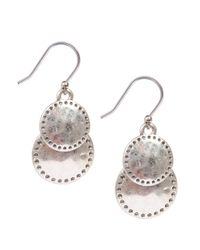 Lucky Brand | Pink Silvertone Double Disc Drop Earrings | Lyst