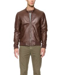 Band of Outsiders - Brown Leather Harrington Jacket for Men - Lyst