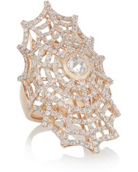 Anita Ko | Metallic Spiderweb 18karat Rose Gold Diamond Ring | Lyst