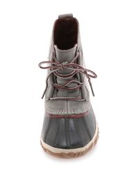 Sorel - Gray Out 'n About Leather Booties - Lyst