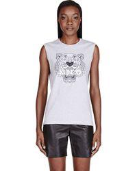KENZO | Gray Heathered Grey Tiger Head Tank Top | Lyst