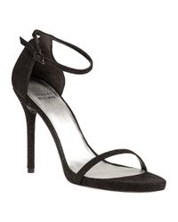 Stuart Weitzman | Black Nudist Textured Leather D'Orsay Sandals | Lyst