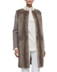 Agnona - Gray Mink Fur & Cashmere Combo Coat - Lyst