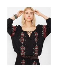 Denim & Supply Ralph Lauren - Black Embroidered Peasant Dress - Lyst
