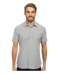 Perry Ellis | Gray Short Sleeve Dobby Print Shirt for Men | Lyst