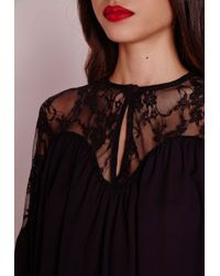 Missguided - Lace Crop Peasant Blouse Black - Lyst