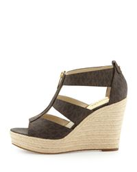 MICHAEL Michael Kors | Brown Damita Logo Zipper Wedge Sandal | Lyst