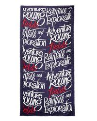 Burberry Prorsum - Blue Typographic-Print Cashmere Scarf for Men - Lyst
