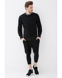 Forever 21 - Black Varsity-striped Collar Shirt for Men - Lyst