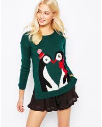Hollister | Green Penguins Kissing Knit Christmas Jumper | Lyst