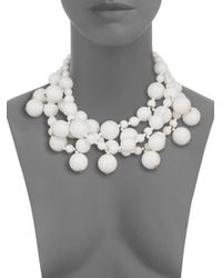 Kenneth Jay Lane - White Beaded Cluster Multi-row Necklace - Lyst
