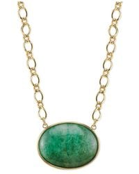 2028 - Metallic Gold-Tone Green Aventurine Stone Pendant Necklace - Lyst