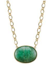 2028 | Metallic Gold-Tone Green Aventurine Stone Pendant Necklace | Lyst