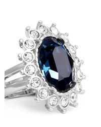 Kenneth Jay Lane | Blue Sapphire Crystal Ring | Lyst