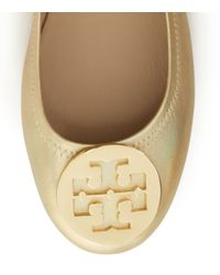 Tory Burch | Logo Minnie Travel Ballet Flat, Metallic Leather | Lyst
