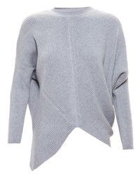 Stella McCartney - Gray Asymmetric Wool Jumper - Lyst