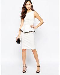 Vesper - White Sophie Peplum Midi Dress With Contrast Trim Detail - Lyst