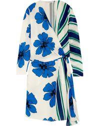 Chloé - Multicolor Printed Silk Crepe De Chine Wrap Dress - Lyst