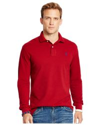 Polo Ralph Lauren | Red Long-sleeved Classic-fit Mesh Polo Shirt for Men | Lyst