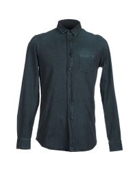 7 For All Mankind - Green Long-Sleeves Cotton Denim Shirt for Men - Lyst