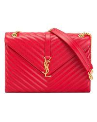 Saint Laurent - Red Medium Monogram Leather Shoulder Bag - Lyst
