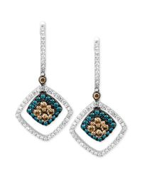 Le Vian | Chocolate And White Diamond (9/10 Ct. T.w.) And Blue Diamond Accent Drop Earrings In 14k White Gold | Lyst
