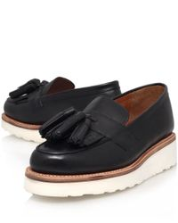 Foot The Coacher - Black Leather Clara Tassel Wedge Loafers - Lyst