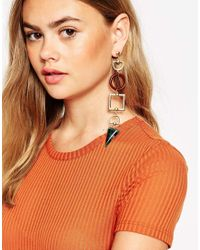 ASOS - Multicolor Statement Shapes Mismatch Earrings - Lyst