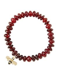 Sydney Evan | Red 8Mm Faceted Garnet Beaded Bracelet With 14K Gold/Diamond Small Bee Charm (Made To Order) | Lyst