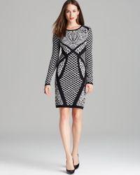 Nicole Miller Artelier | Black Dress Double Knit Leopard Print | Lyst