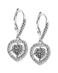 Judith Jack - Metallic Sterling Silver Crystal and Marcasite Heart Drop Earrings - Lyst