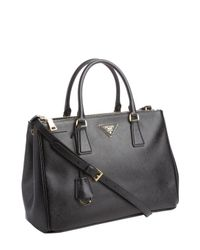 Prada | Black Saffiano Leather Convertible Satchel | Lyst