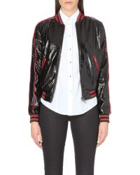 DIESEL Black Bomber Jacket With High-Shine Finish - For Women