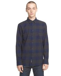 Rag & Bone - Blue 'beach' Trim Fit Buffalo Check Shirt for Men - Lyst