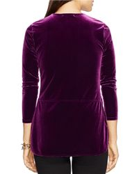 Lauren by Ralph Lauren | Purple Keyhole Jersey Top | Lyst