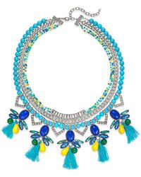 Macy's | Robert Rose Silver-Tone Blue Tassel Collar Necklace | Lyst