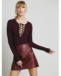 Free People - Purple Lace-Up Seamless-Knit Top - Lyst