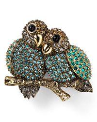 Carolee - Green Lovebirds Pin - Lyst
