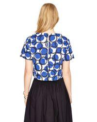 Kate Spade | Blue Stamped Dots Crop Top | Lyst