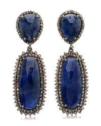 Bavna | Sterling Silver Blue Sapphire And Diamond Drop Earring | Lyst