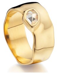 Monica Vinader - Metallic Gold Vermeil White Topaz Wide Siren Band - Lyst