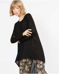 Zara | Black Asymmetric Tunic Top | Lyst