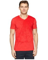 Calvin Klein - Red Ck One Allover Front Graphic V-Neck T-Shirt for Men - Lyst