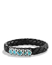 David Yurman | Metallic Frontier Bracelet In Black With Turquoise | Lyst