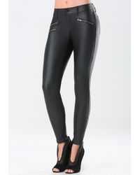 Bebe - Black Coated Zip Moto Jeans - Lyst