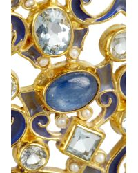 Percossi Papi - Blue Goldplated Multistone Earrings - Lyst